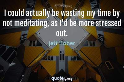 Photo Quote of I could actually be wasting my time by not meditating, as I'd be more stressed out.