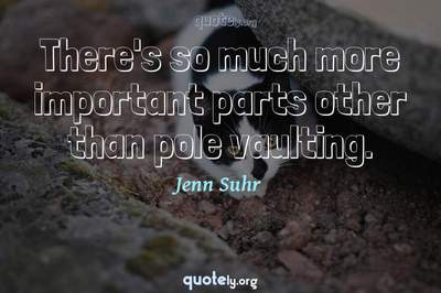Photo Quote of There's so much more important parts other than pole vaulting.