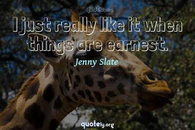 Photo Quote of I just really like it when things are earnest.