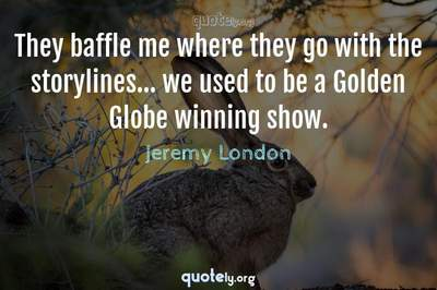 Photo Quote of They baffle me where they go with the storylines... we used to be a Golden Globe winning show.