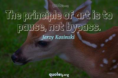 Photo Quote of The principle of art is to pause, not bypass.