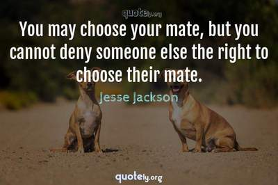 Photo Quote of You may choose your mate, but you cannot deny someone else the right to choose their mate.