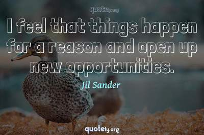 Photo Quote of I feel that things happen for a reason and open up new opportunities.