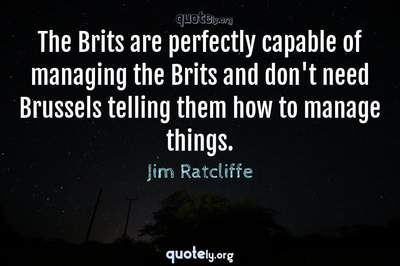 Photo Quote of The Brits are perfectly capable of managing the Brits and don't need Brussels telling them how to manage things.