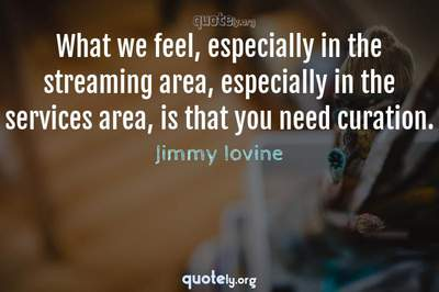 Photo Quote of What we feel, especially in the streaming area, especially in the services area, is that you need curation.