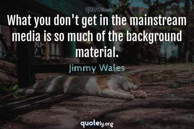 Photo Quote of What you don't get in the mainstream media is so much of the background material.