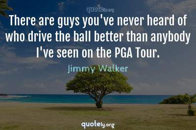 Photo Quote of There are guys you've never heard of who drive the ball better than anybody I've seen on the PGA Tour.