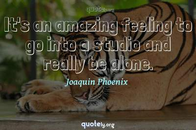 Photo Quote of It's an amazing feeling to go into a studio and really be alone.