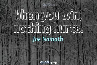 Photo Quote of When you win, nothing hurts.