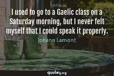 Photo Quote of I used to go to a Gaelic class on a Saturday morning, but I never felt myself that I could speak it properly.