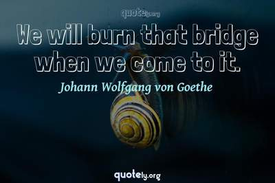 Photo Quote of We will burn that bridge when we come to it.