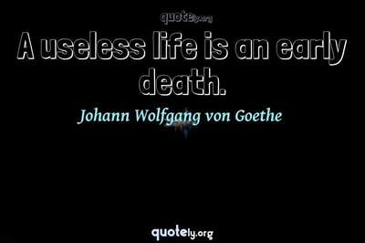 Photo Quote of A useless life is an early death.