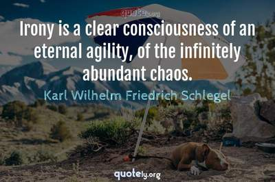 Photo Quote of Irony is a clear consciousness of an eternal agility, of the infinitely abundant chaos.