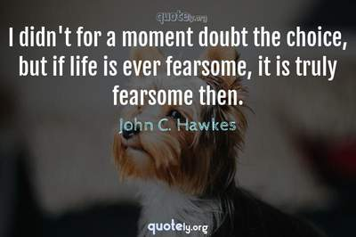 Photo Quote of I didn't for a moment doubt the choice, but if life is ever fearsome, it is truly fearsome then.
