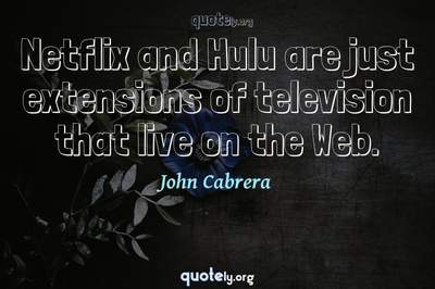 Photo Quote of Netflix and Hulu are just extensions of television that live on the Web.