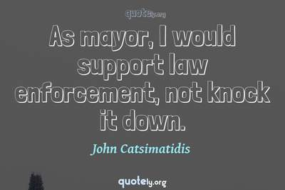 Photo Quote of As mayor, I would support law enforcement, not knock it down.