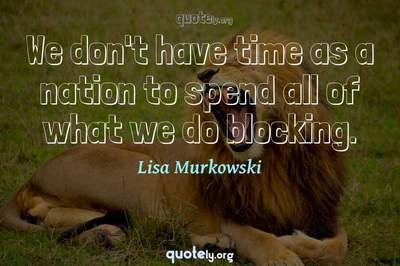 Photo Quote of We don't have time as a nation to spend all of what we do blocking.