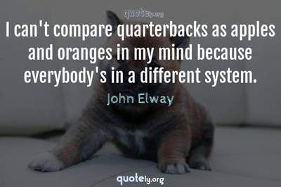 Photo Quote of I can't compare quarterbacks as apples and oranges in my mind because everybody's in a different system.