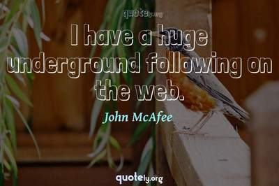 Photo Quote of I have a huge underground following on the web.