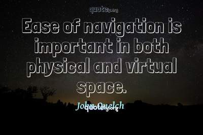 Photo Quote of Ease of navigation is important in both physical and virtual space.