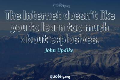 Photo Quote of The Internet doesn't like you to learn too much about explosives.