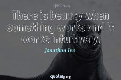 Photo Quote of There is beauty when something works and it works intuitively.