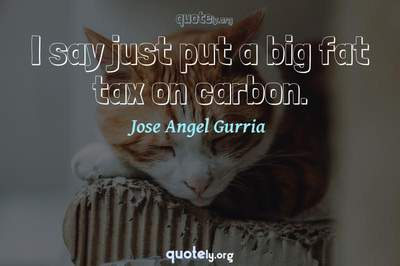 Photo Quote of I say just put a big fat tax on carbon.