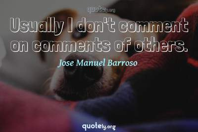Photo Quote of Usually I don't comment on comments of others.