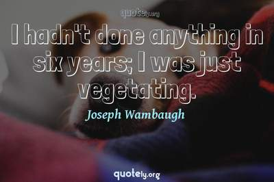 Photo Quote of I hadn't done anything in six years; I was just vegetating.