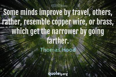 Photo Quote of Some minds improve by travel, others, rather, resemble copper wire, or brass, which get the narrower by going farther.