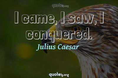 Photo Quote of I came, I saw, I conquered.