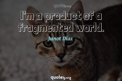 Photo Quote of I'm a product of a fragmented world.