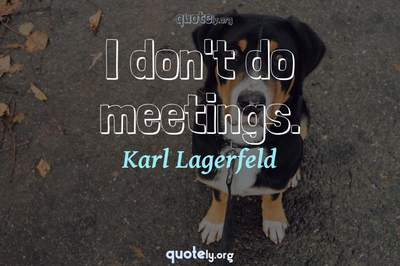 Photo Quote of I don't do meetings.
