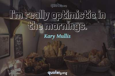 Photo Quote of I'm really optimistic in the mornings.