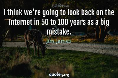 Photo Quote of I think we're going to look back on the Internet in 50 to 100 years as a big mistake.