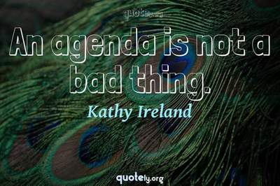 Photo Quote of An agenda is not a bad thing.
