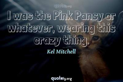 Photo Quote of I was the Pink Pansy or whatever, wearing this crazy thing.