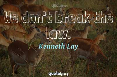 Photo Quote of We don't break the law.