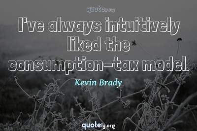 Photo Quote of I've always intuitively liked the consumption-tax model.