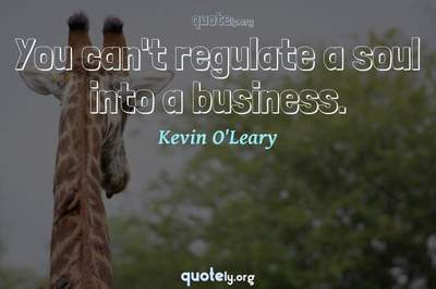 Photo Quote of You can't regulate a soul into a business.