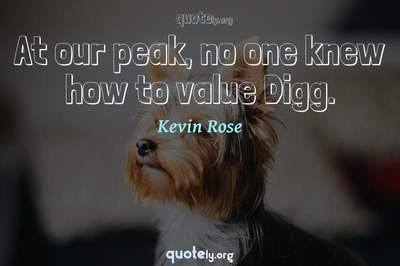 Photo Quote of At our peak, no one knew how to value Digg.