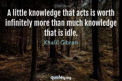 Photo Quote of A little knowledge that acts is worth infinitely more than much knowledge that is idle.