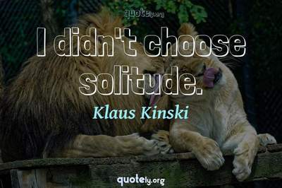 Photo Quote of I didn't choose solitude.