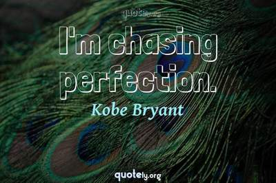 Photo Quote of I'm chasing perfection.