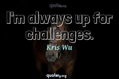 Photo Quote of I'm always up for challenges.