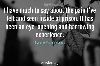 Photo Quote of I have much to say about the pain I've felt and seen inside of prison. It has been an eye-opening and harrowing experience.
