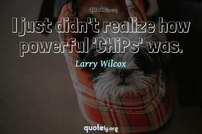 Photo Quote of I just didn't realize how powerful 'CHiPs' was.