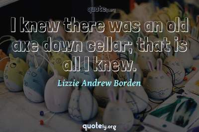 Photo Quote of I knew there was an old axe down cellar; that is all I knew.