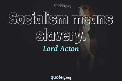 Photo Quote of Socialism means slavery.