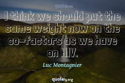 Photo Quote of I think we should put the same weight now on the co-factors as we have on HIV.